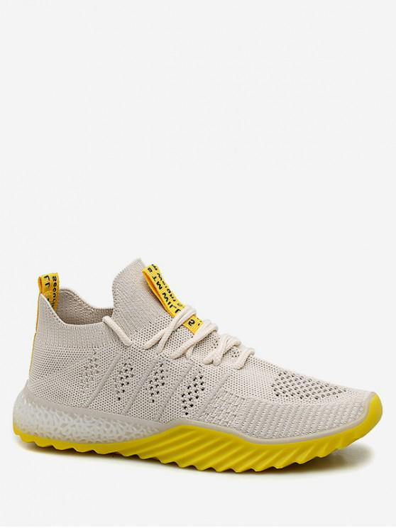 buy Contrast Color Breathable Mesh Sneakers - YELLOW EU 36