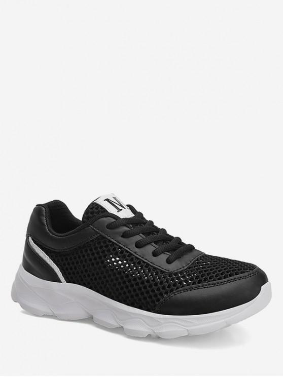 ladies Hollowed Mesh Sports Sneakers - BLACK EU 36