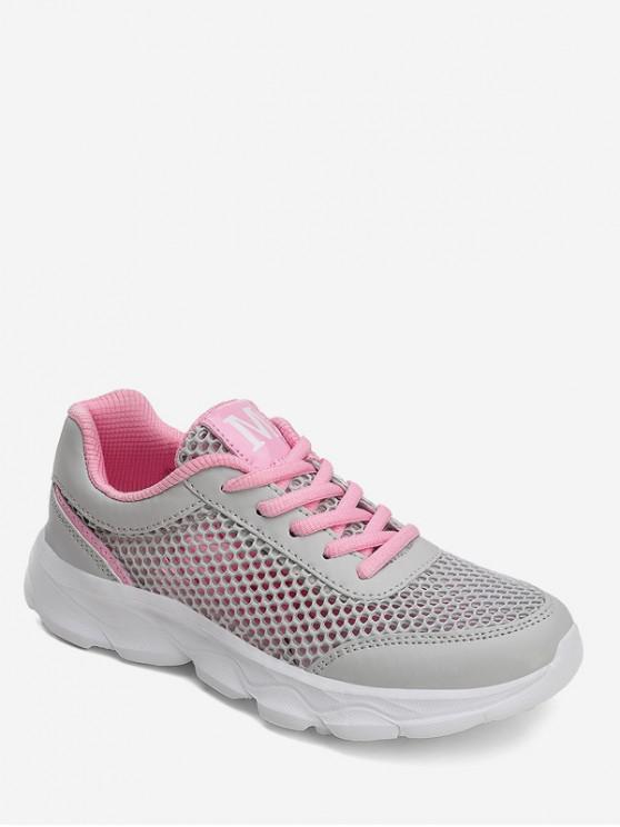 shop Hollowed Mesh Sports Sneakers - PINK EU 35