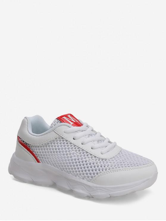buy Hollowed Mesh Sports Sneakers - WHITE EU 36