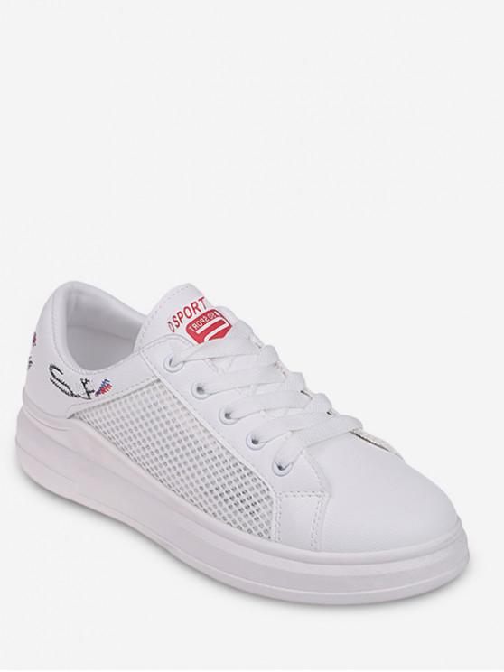online Embroidery Detail Mesh Casual Shoes - RED EU 38