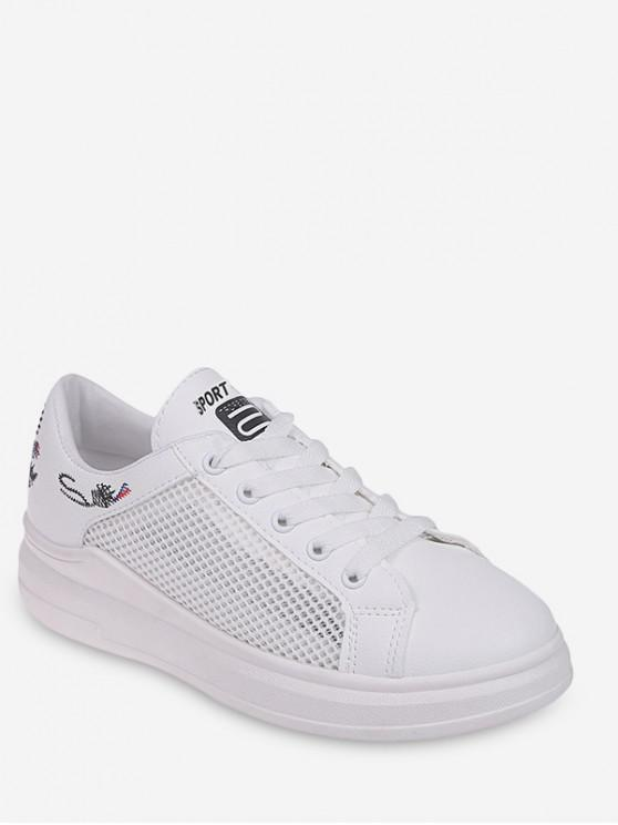 latest Embroidery Detail Mesh Casual Shoes - BLACK EU 38