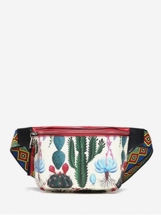 best Cactus Pattern Chest Bag - MILK WHITE