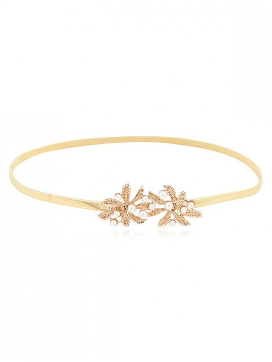 latest Floral Faux Pearl Elastic Chain Thin Belt - GOLD