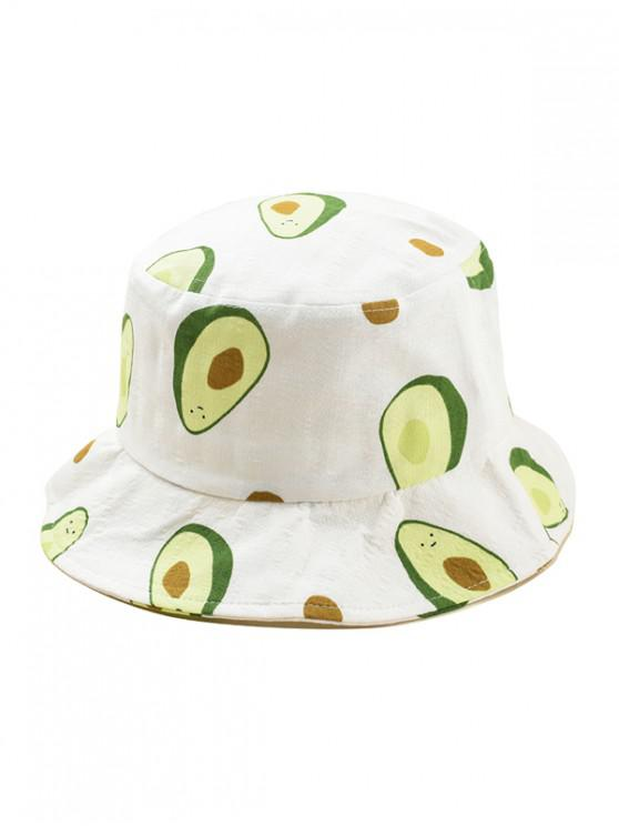 chic Avocado Print Bucket Hat - WHITE