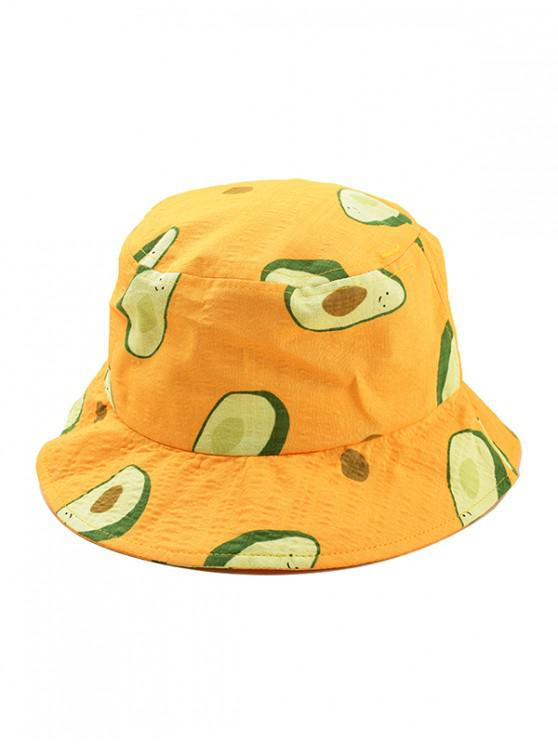 shop Avocado Print Bucket Hat - YELLOW