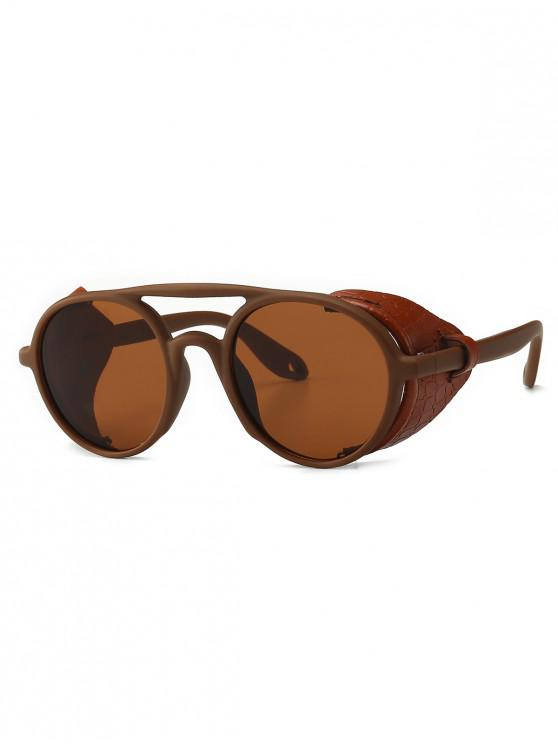 unique Imitated Snakeskin Wrap Round Sunglasses - BROWN
