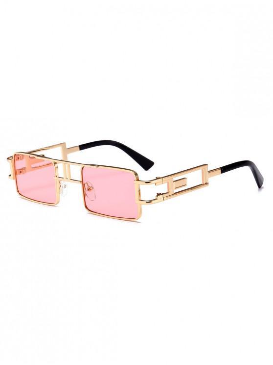 ladies Punk Hollow Leg Rectangle Sunglasses - PINK