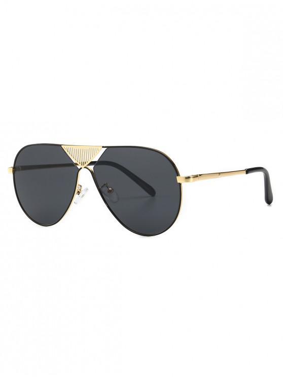 shop Triangle Stripe Hollow Pilot Sunglasses - BLACK