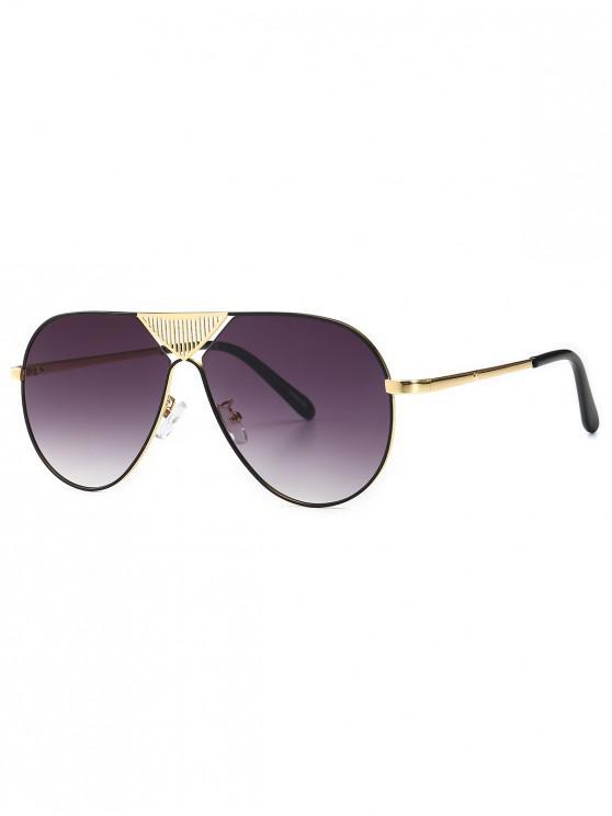 affordable Triangle Stripe Hollow Pilot Sunglasses - GRAY