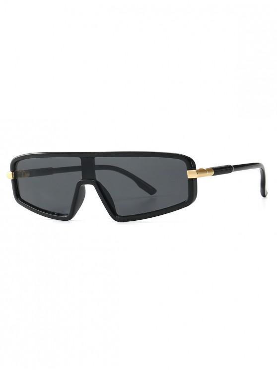 fancy Vintage Integral Irregular Sunglasses - BLACK