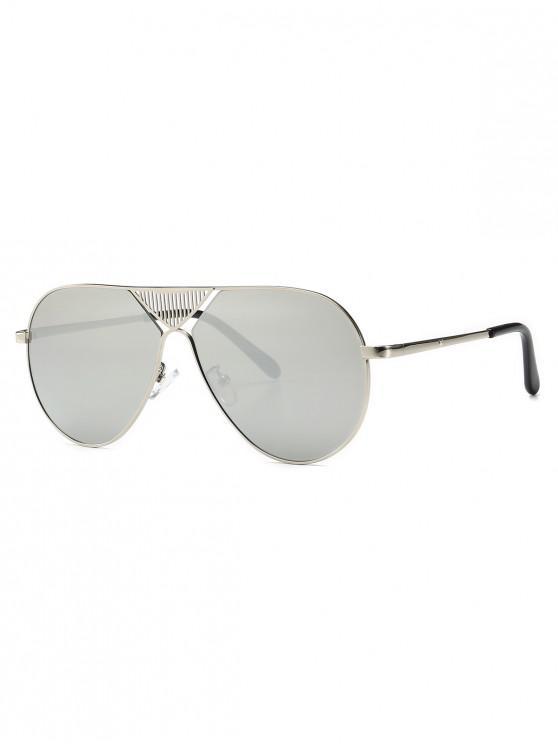 unique Triangle Stripe Hollow Pilot Sunglasses - SILVER