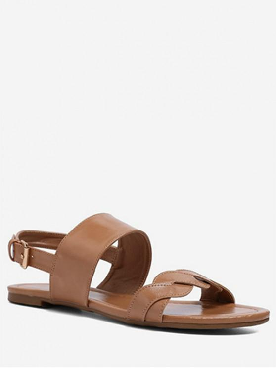 lady Twisted Strap Flat Sandals - LIGHT BROWN EU 41