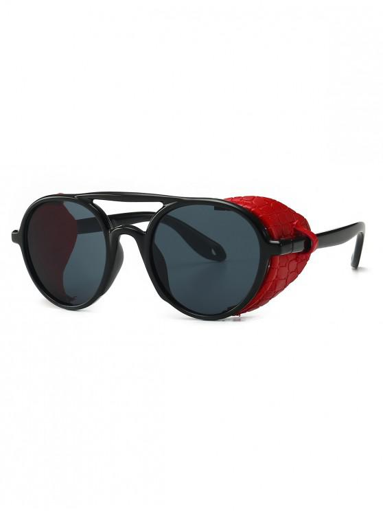 best Imitated Snakeskin Wrap Round Sunglasses - RED