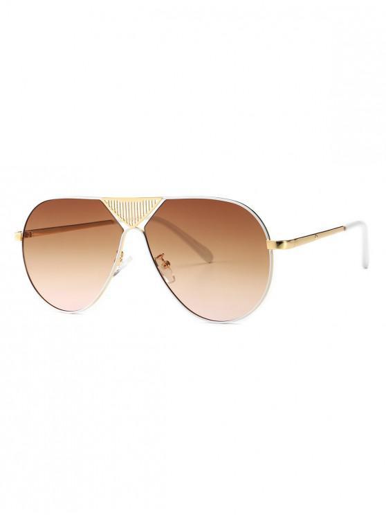 shops Triangle Stripe Hollow Pilot Sunglasses - LIGHT BROWN