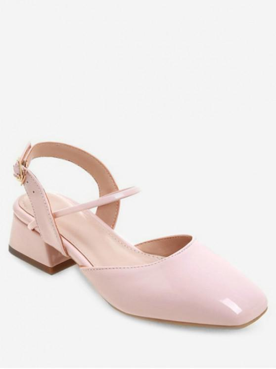 chic Square Toe Patent Leather Sandals - PINK EU 42