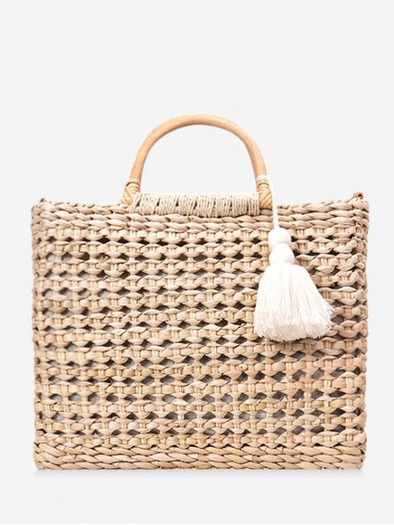women Beach Style Straw Handbag - KHAKI