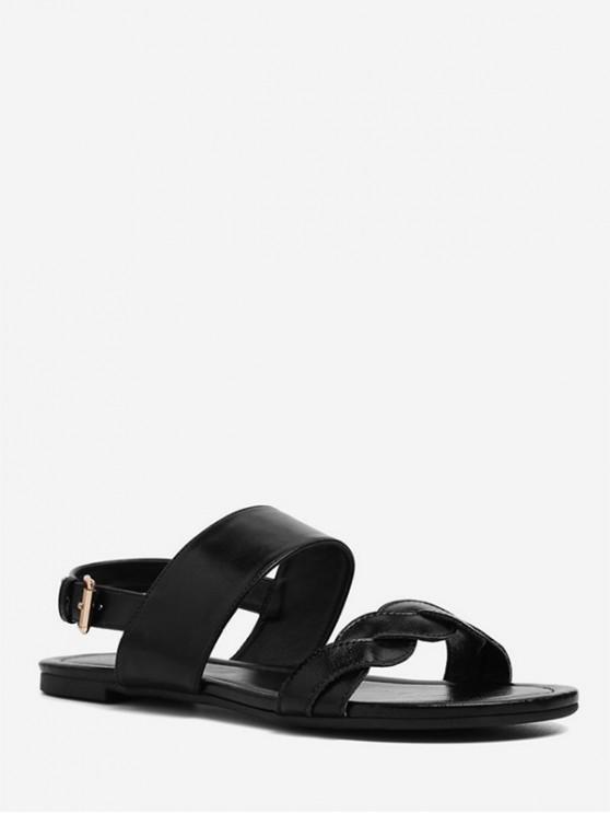 lady Twisted Strap Flat Sandals - BLACK EU 36