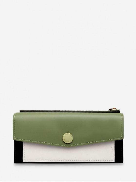 womens Color Block Envelope PU Wristlets - GREEN