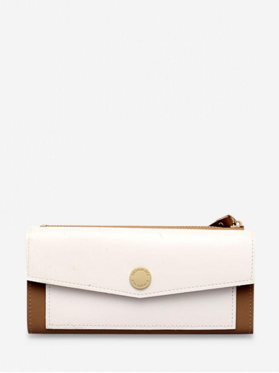 affordable Color Block Envelope PU Wristlets - WHITE