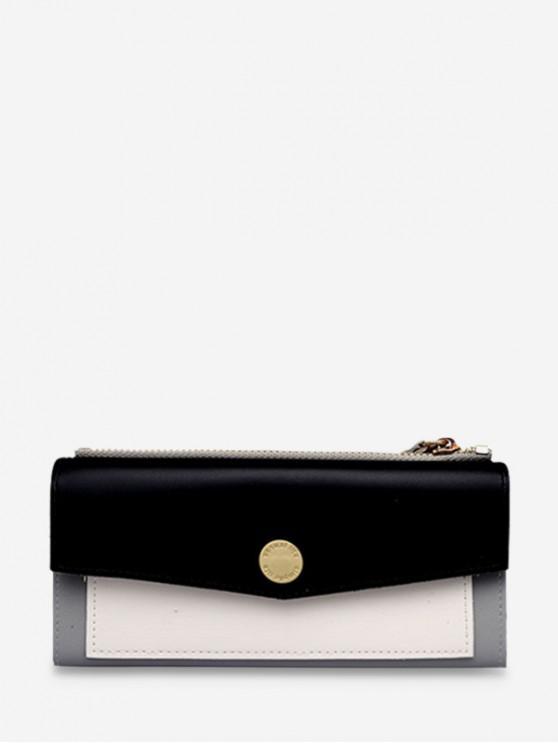 unique Color Block Envelope PU Wristlets - BLACK
