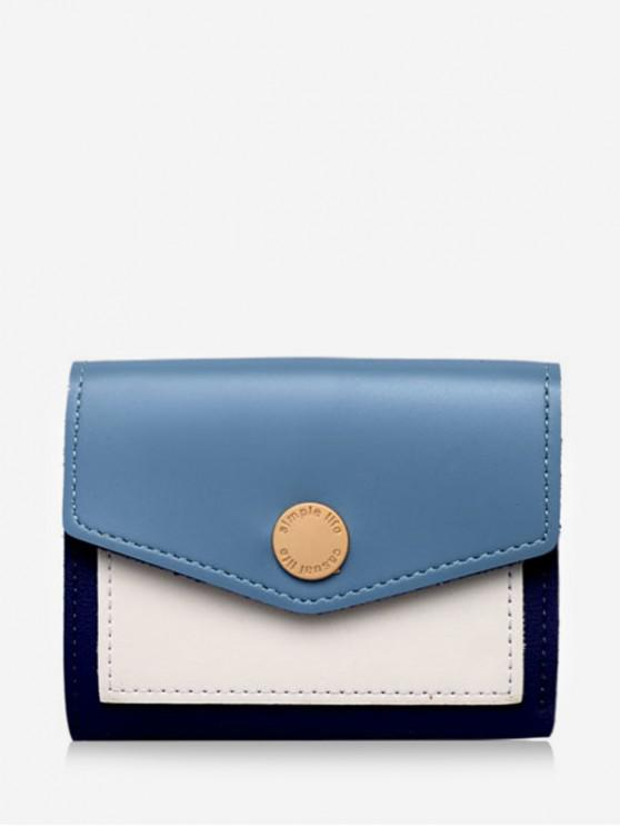 fashion Color Block Envelope Tri-fold Wallet - SKY BLUE