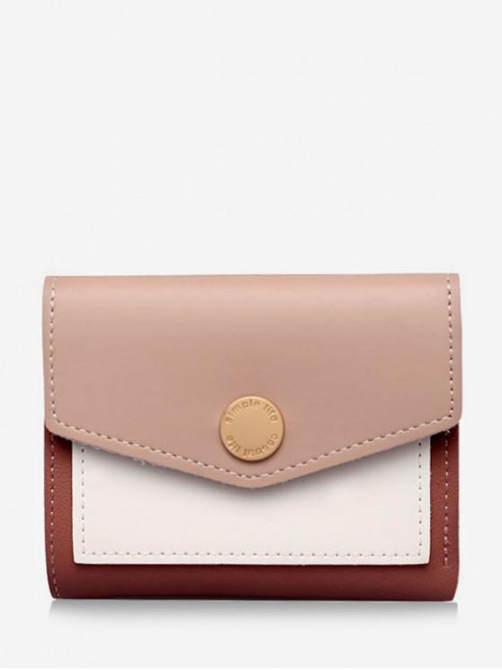 ladies Color Block Envelope Tri-fold Wallet - PINK