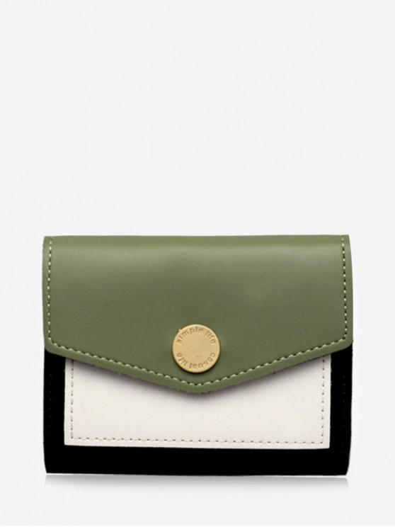 shop Color Block Envelope Tri-fold Wallet - GREEN