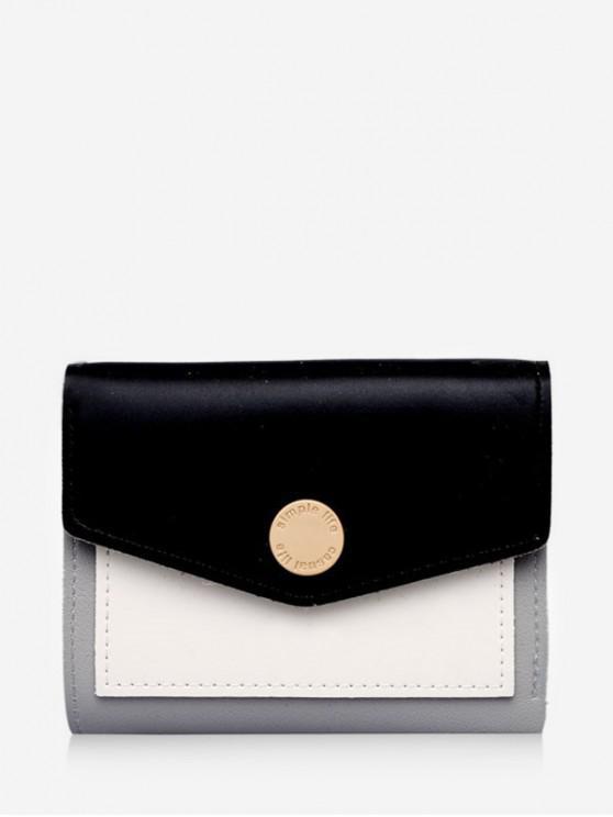 affordable Color Block Envelope Tri-fold Wallet - BLACK