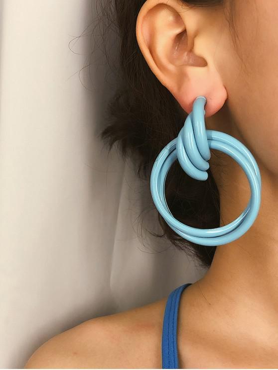 women Double Circle Tube Stud Earrings - BLUE
