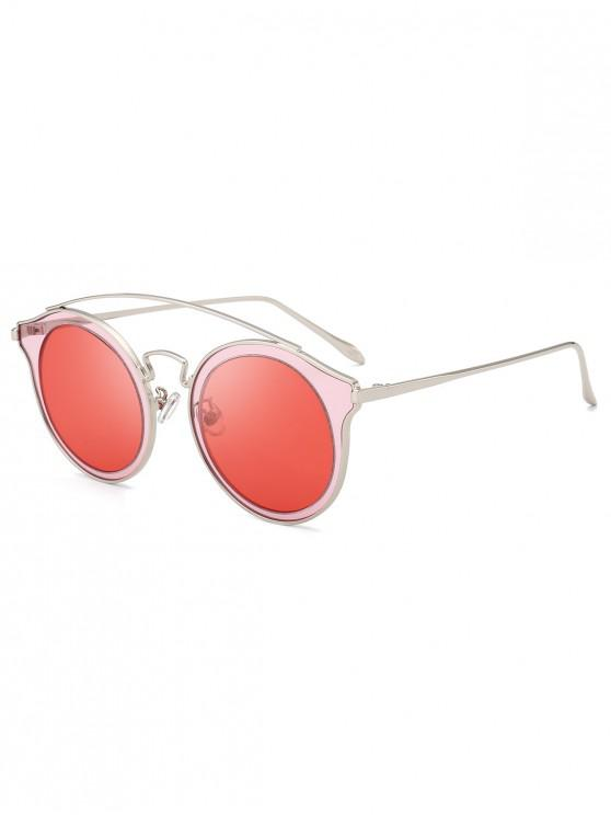 latest Arc Bar Metal Round Sunglasses - RED