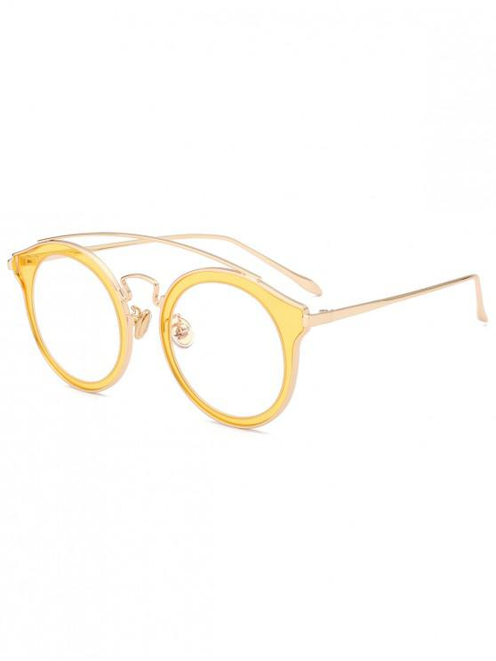 outfit Arc Bar Metal Round Sunglasses - YELLOW
