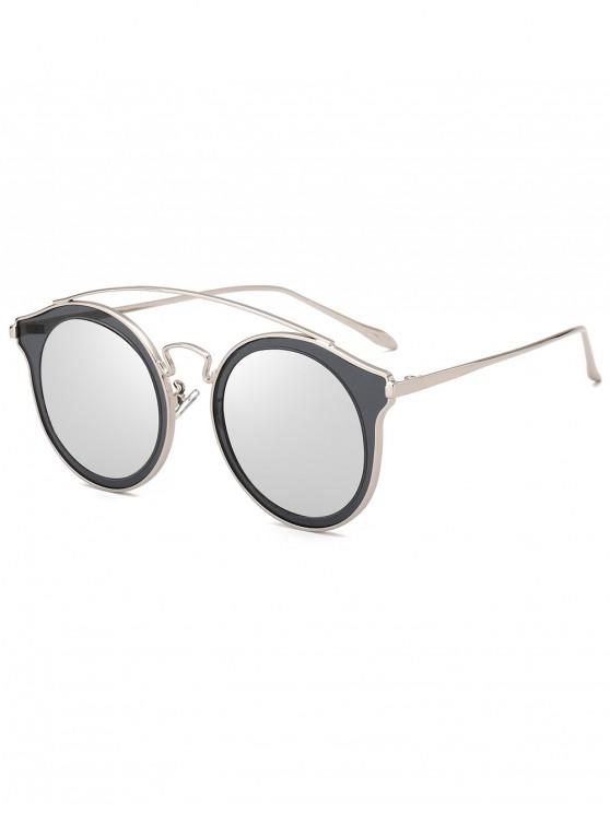 outfits Arc Bar Metal Round Sunglasses - SILVER