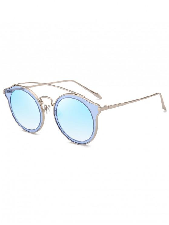 women Arc Bar Metal Round Sunglasses - SKY BLUE