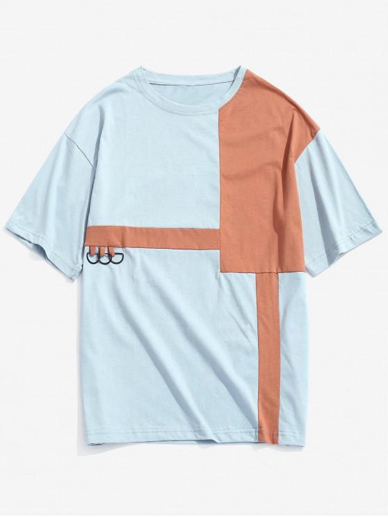 fancy Color Block Decoration Leisure Style T-shirt - SEA BLUE M
