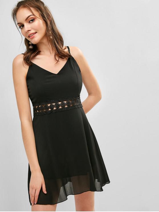 best Back Zipper Crochet Panel Cami Dress - BLACK M