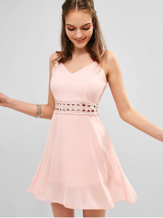 shops Back Zipper Crochet Panel Cami Dress - ROSE S