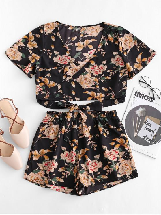 trendy ZAFUL Knotted Floral Print Top and Shorts Set - BLACK L