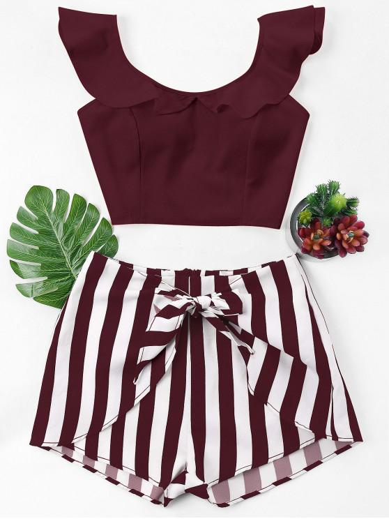 fashion Ruffle Striped Shorts Two Piece Set - FIREBRICK M