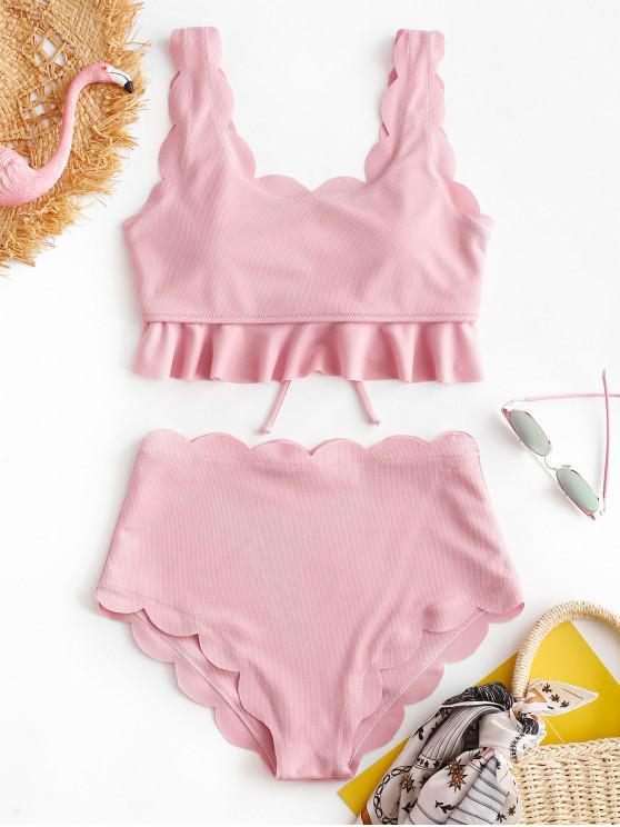 women ZAFUL Textured Lace-up Scalloped Tankini Set - PIG PINK S