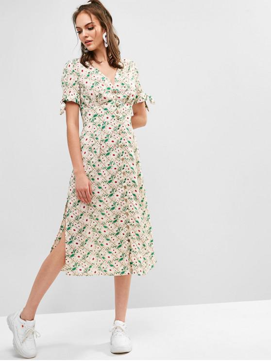 shop ZAFUL Button Up Slit Floral Midi Dress - MILK WHITE L