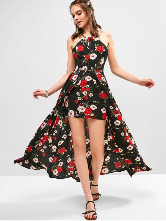 sale Slit Criss Cross Floral Maxi Dress - MULTI M