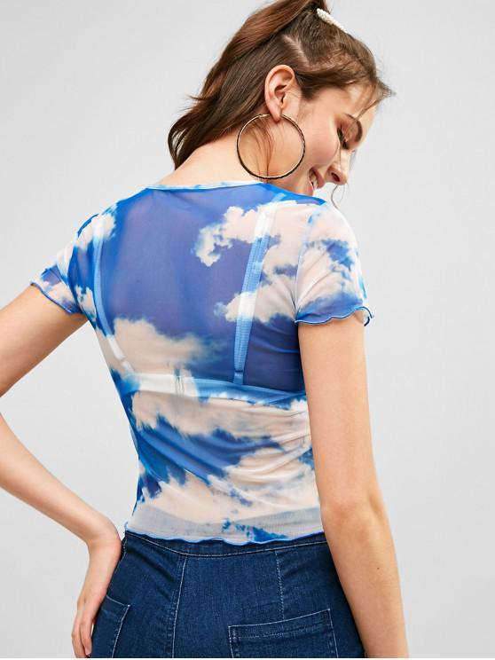 shirt M T SheerBleu Mesh Sky Cristal kZOuTlPiXw