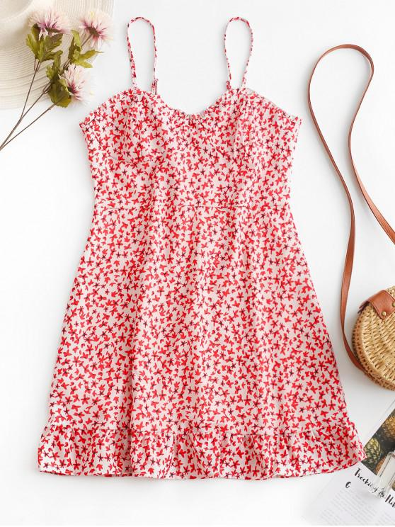 latest Floral Print Smocked Back Cami Dress - RED S