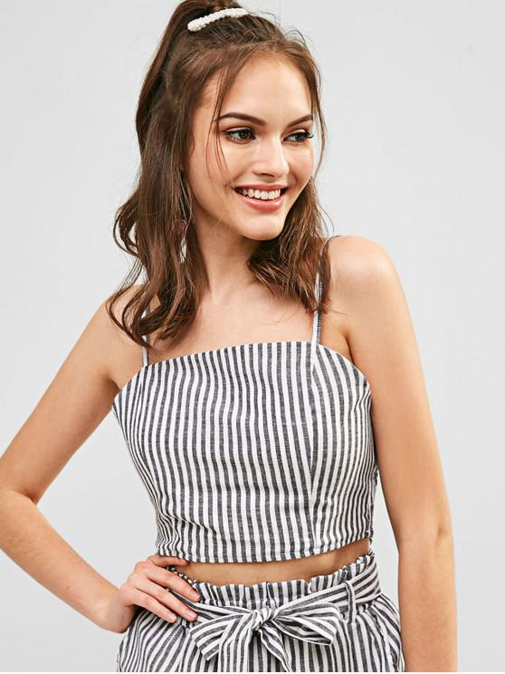online ZAFUL Smocked Striped Cropped Cami Top - BLACK S