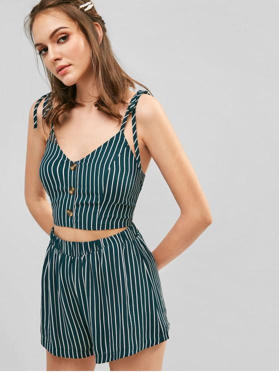 new ZAFUL Buttoned Stripes Cami Top And Shorts Set - GREENISH BLUE M