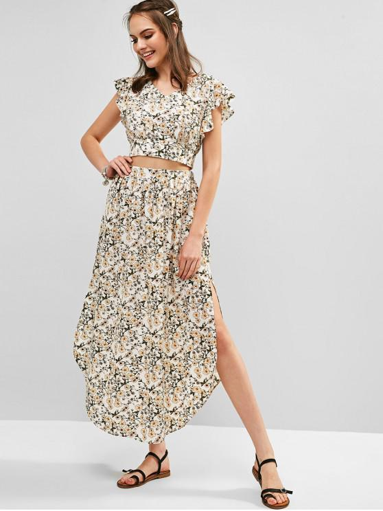 fashion ZAFUL Ruffles Floral Top And Slit Skirt Set - WHITE M