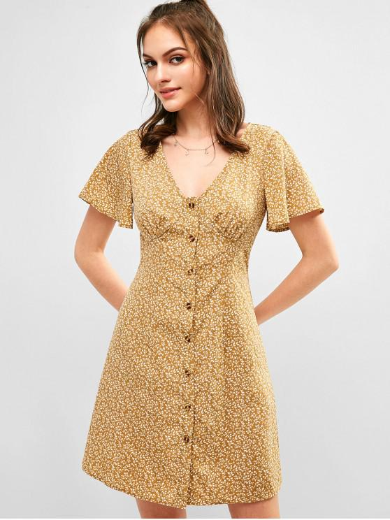 ZAFUL Robe Ligne A Fleurie Boutonnée - Brun Biscuit S