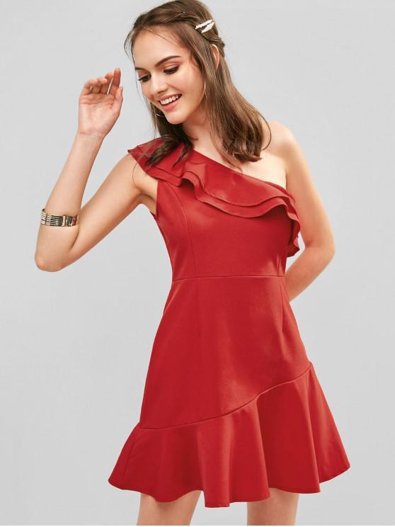 الكشكشة الطبقات فستان واحد الكتف - أحمر S