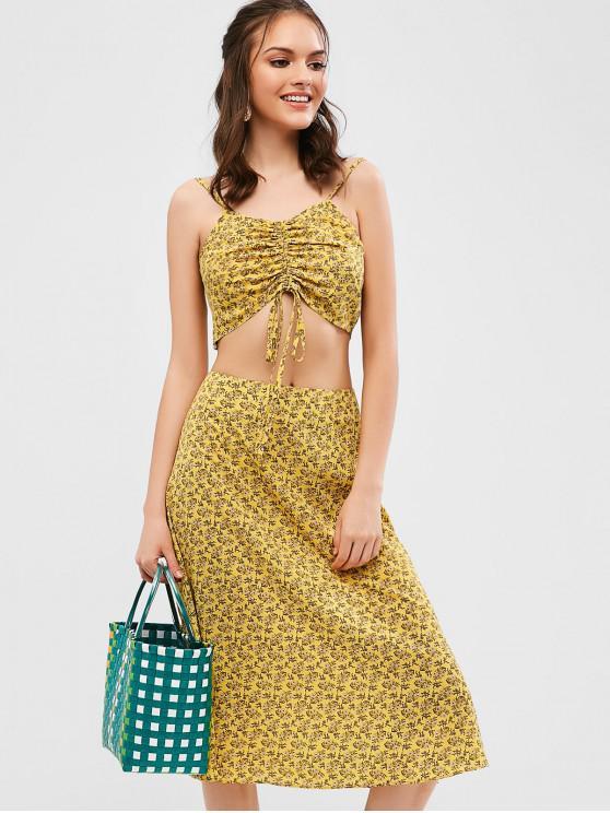 shops ZAFUL Cinched Floral Cami Top And Skirt Set - GOLDENROD L